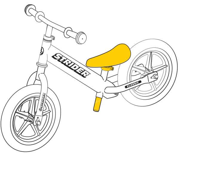 illustration Strider 12 Classic balance bike seat