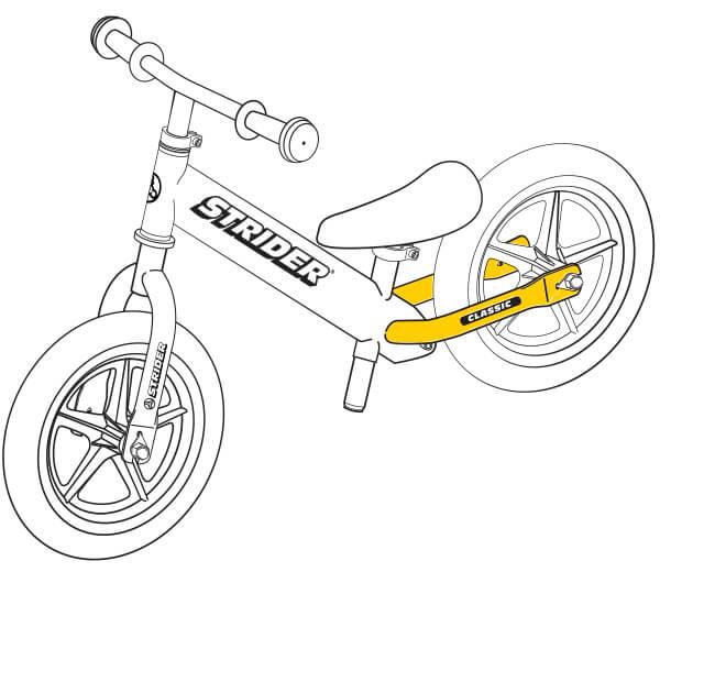 illustration Strider 12 Classic balance bike footrests